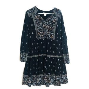 Style & Co. Paisley Pheasant Long Sleeve Dress